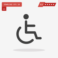 Handicap Icon in trendy flat style isolated on grey background.