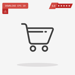Cart Icon in trendy flat style isolated on grey background. Shop