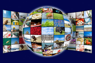 3D sphere and plasma panel of many photos