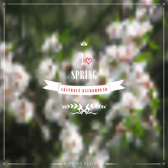 Abstract vector spring background. Flowering tree. Beautiful inscription in retro style - I love spring. Crown, heart, ribbon and branch.