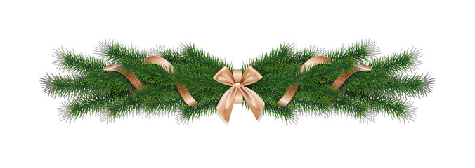 Christmas 3d realistic vector pine branches with golden ribbon.