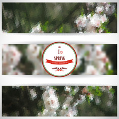 Set of three horizontal banners. Abstract vector geometric spring background. Flowering tree. Beautiful inscription in retro style - I love spring. Crown, heart, ribbon and branch. Place for your text