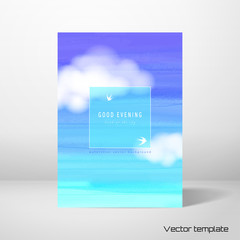 Vector card template. A sheet of paper against the wall. White cloud and watercolor sky.  Frame for your text with silhouettes of swallows. Realistic shadow.