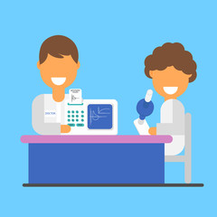 Spirometry as a science and research, a banner. Vector lungs, spirometry and test results.