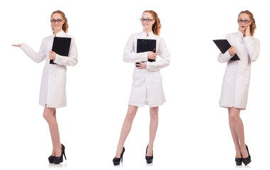 Pretty female doctor holding diary isolated on white