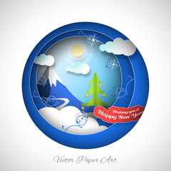 Vector paper art for Happy New Year holiday with round cutouts, snowdrift, sky, sun, mountain, clouds, green Christmas tree on the gradient blue background.