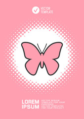Brochure or web banner design with butterfly icon