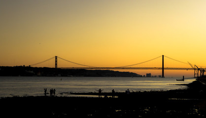 Amazing sunset at Tago River in Lisbon