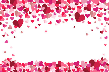 Valentines Day Floating Hearts Top Bottom Repeating Vector Background 1