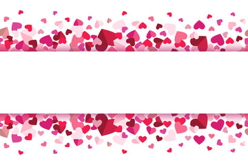 Valentines Day Floating Hearts Center Banner Repeating Vector Background 1