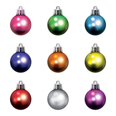 Colorful Christmas Holiday Ornaments Isolated Illustration