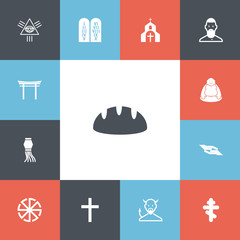 Set of 13 editable religion icons. Includes symbols such as cross, torii, mullah and more. Can be used for web, mobile, UI and infographic design.