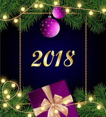 Merry Christmas and Happy 2018 New Year background with frame,  real tree branches, purple gift box with golden bow, light bulbs, baubles and ornaments.