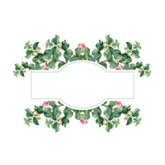 Watercolor Christmas floral banner. Hand painted floral garland with snowberry isolated on white background. Holiday clip art