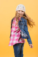 Child model smile with long blond hair