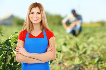 Owner of agribusiness in cultivated field