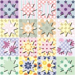 patchwork background with stars