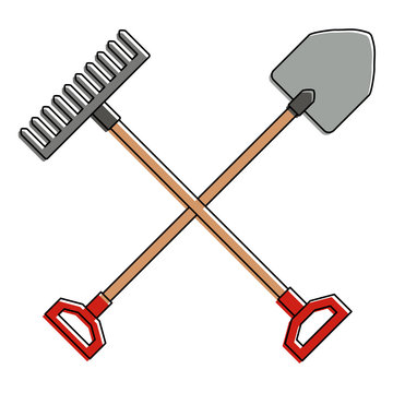 gardening shovel with rake vector illustration design