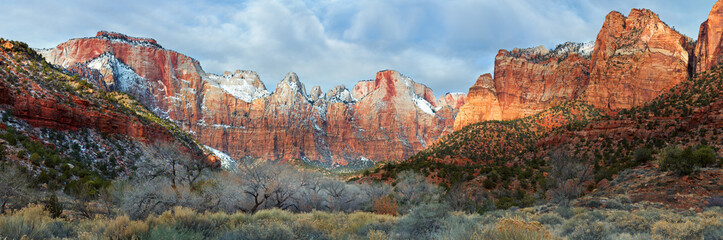 Zion National Park in snow, scenic panorama