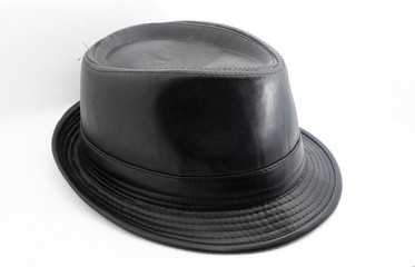 Black leather hat shot over white background