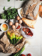 Pile of fresh ingredients to be used in cooking