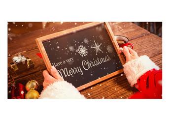 Santa Claus Holding a Chalk Tablet Mockup 4