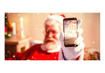 Santa Showing Smartphone Screen Mockup