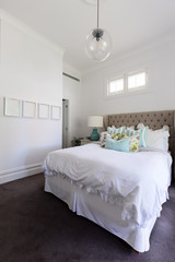 White and pastel blue styled country house bedroom