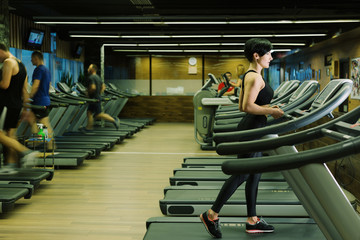 Fit healthy sporty woman doing cardio exercise on treadmill. Female athlete workout on stepper at modern gym