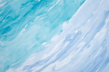 Handpainted Blue abstract background in watercolor style
