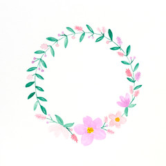 Flowers wreath watercolors, Hand drawing flowers in watercolor style on white paper background, with copy space for text, greeting card background, banner