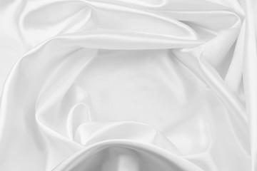 White silk rippled fabric