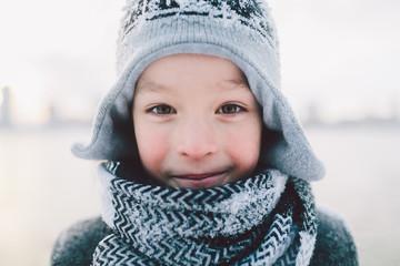 Boy of ten years in winter time
