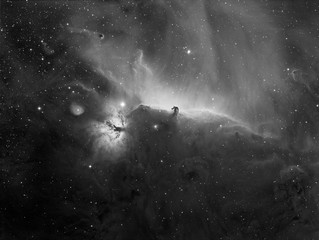 The Horsehead and flame nebula in mono