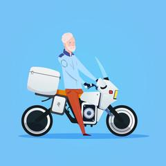 Senior Man Riding Motorcycle Or Motorbike Isolated On White Background Flat Vector Illustration