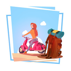 Young Girl With Backpack Travel On Electric Scooter Woman Tourist Riding Vintage Motorcycle Over Blue Sky Landscape Flat Vector Illustration