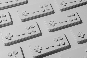 Gaming console josticks arranged.