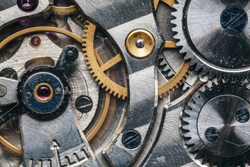 Mechanical clock mechanism in motion macro