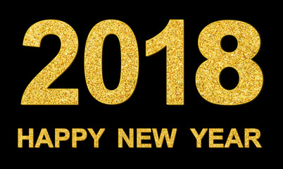 Gold glitter texture 2018 isolated on black background merry christmas happy new year element phto object design