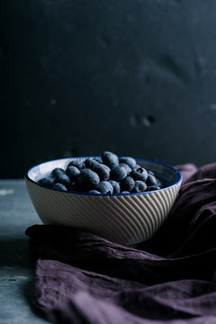 Blueberries in a bowl seen from side view.