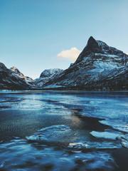 Norway - Innerdalen Lake and Mountain Range on Freezing Cold Winter Day