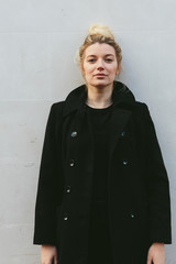 Beautiful blonde woman in winter coat