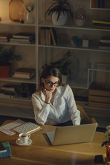 Businesswoman Working Late at Her Office