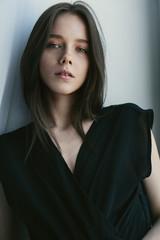 sensual portrait of beautiful girl close-up
