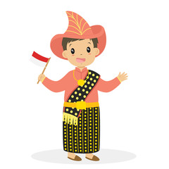 Boy wearing Nusa Tenggara Timur traditional dress and holding Indonesian flag. Indonesian children, NTT traditional dress cartoon vector
