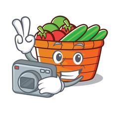 Photographer fruit basket character cartoon