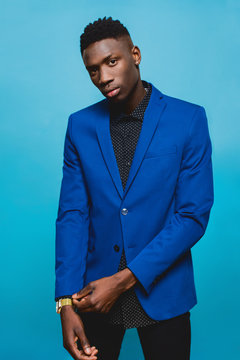 Portrait of man wearing a blue suit