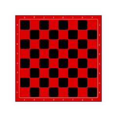 Empty checkerboard or chessboard isolated. Board for chess or checkers game. Strategy game concept illustration. Red checker board background.