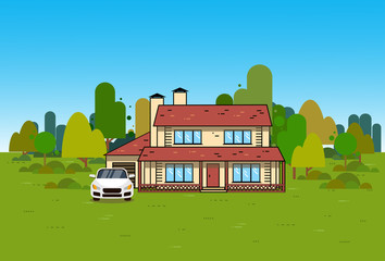 Home Exterior House Cottage Over Green Natural Background Suburban Real Estate And Car View Vector Illustration