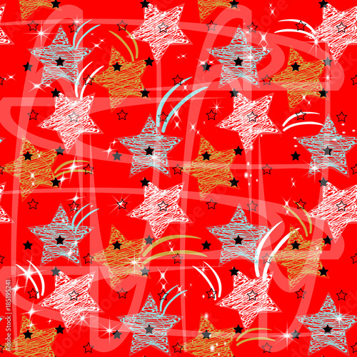 doodle star seamless background colorful star abstract childish star pattern for christmas card